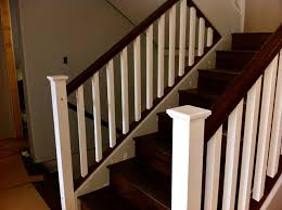 Painting Banister Spindles Painted Post And Stained Oak Rail Contemporary Staircase