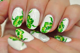 nail art green flowers on a white background youtube