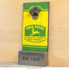john deere equipment wood bottle opener u0026 cap catcher bar