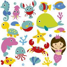 cute sea animals mermaid vector free download