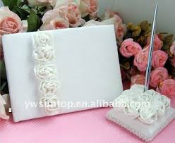 guest book and pen set personalized white design wedding guest book and pen holder