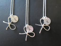 Personalized Hand Stamped Jewelry One Sterling Silver Bridesmaid Bow Knot Necklace With Personalized