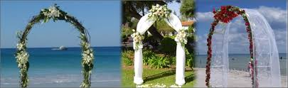 tropical bamboo arbor and wedding arches for hire bali flags nz