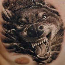 3d angry wolf on chest