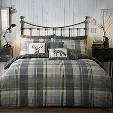 Grey Double Duvet Set 100 Brushed Cotton U0027connolly Check U0027 Double Duvet Cover Set In