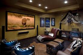 interior theater room wall decor with maroon leather lounge chair