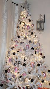 white christmas trees white christmas tree with pink black and silver ornaments bright