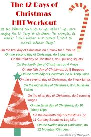 the 12 days of christmas hiit workout workout exercises and