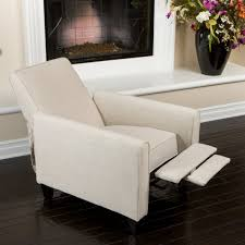 bedroom modern white fabric club chair with recliner and