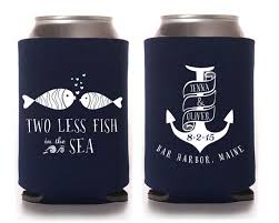 custom wedding koozies custom wedding koozie nautical wedding two less fish in the