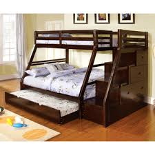 Twin Full Bunk Bed Plans by Furniture Of America Curtine Classic Dark Walnut Twin Over Full