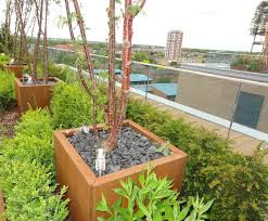 corten steel planters external works