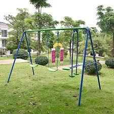Best Backyard Swing Sets by Outdoor Childrens Folding Swing Set With 2 Baby Swing U0026 Seesaw