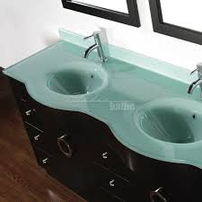 Glass Top Vanity Table Zoe 72 Inch Contemporary Double Bathroom Vanity Green Glass Top