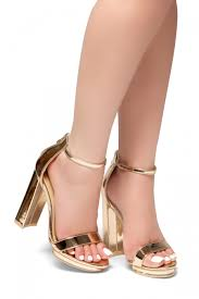 new view open toe chunky heel ankle strap sandals rosegold