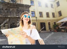City Map Glasses Happy Tourist Light Hair Red Stock Photo 545550283 Shutterstock