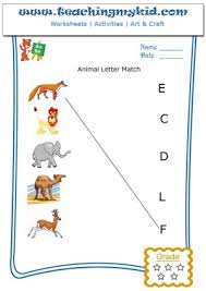 fun worksheets for kids match animal with first letter of name 2