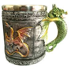 Dragon Coffee Cup 350ml Retro Style Office Drinking Cup Dragon Embellished Stainless