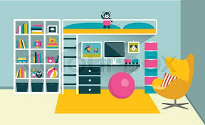 Cartoon Bunk Bed by Kids Room Children Furniture With Bunk Bed And Table Flat Design