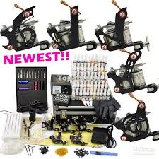 professional tattoo kit 5 top machine guns ink pigment power