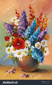 oil painting spring flowers vase on stock illustration 187714502