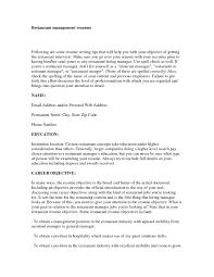 Resume For Restaurant Resume For Restaurant Manager Position