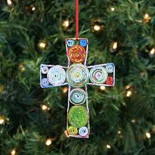recycled magazine cross ornament fair square imports