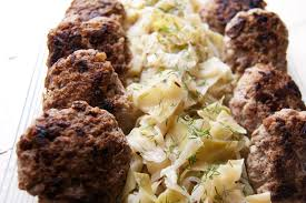 pork sausage patties with braised cabbage and apples serious eats