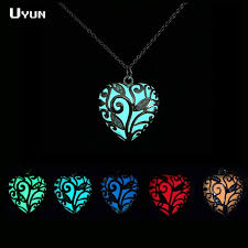 aliexpress heart necklace images Magical heart of winter forest glow in the dark necklace hollow jpg