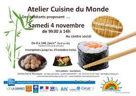 affiche atelier cuisine atelier cuisine du monde centre social mosaïque canton de chalamont