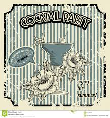 vintage cocktail vintage cocktail party poster with cocktail tropic flowers and