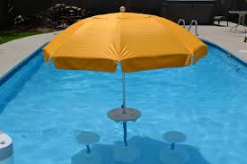 swimming pool table set with umbrella relaxation station pool lounge aughog products ahp outdoors the