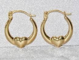 childrens gold earrings 9ct gold children s fancy heart creole hoop earrings ebay