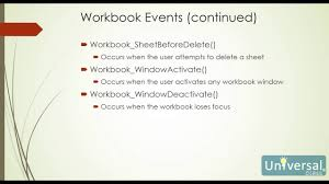 lesson 8 events visual basic for applications course youtube
