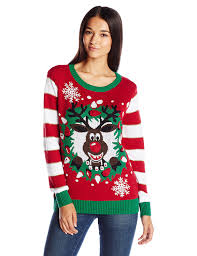 ugly christmas sweaters that light up and sing ugly christmas sweater women s light up reindeer wreath at amazon