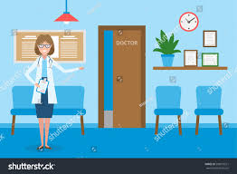 doctor waiting room handsome smiling woman stock vector 500072521