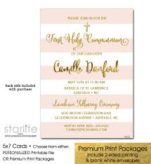 communion invitations for girl girl communion photo invitation pink stripes gold