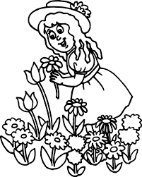 butterfly with flower in the garden colouring pages butterfly