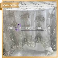Lace Table Overlays Tl002s1 Fancy Wedding Silver Embroidery Sequin Lace Table Overlays