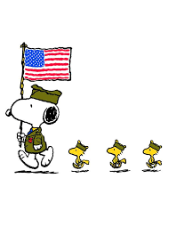 snoopy dressed in and holding american flag with