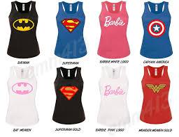 wonder womens t shirt batman barbie superman captain america vest