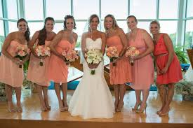peach and coral bridesmaid dresses mismatched bridesmaid dresses