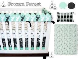 Baby Boy Nursery Bedding Set by Frozen Forest Crib Bedding Deer Nursrery Bedding Icy Mint