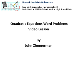 quadratic equation word problems succeed at homeschooling math