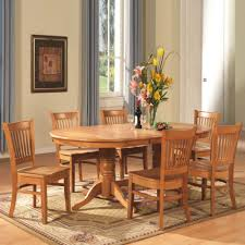 vanc7 oak 7 piece dining room set table with a leaf and 6 dinette