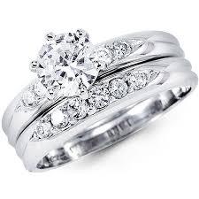 rings wedding set images Wedding rings set 14k white gold round cubic zirconia wedding ring jpg