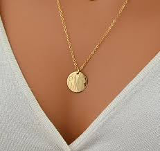 gold monogram initial necklace monogram necklace gold disc necklace initial necklace