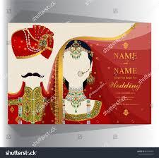 Indian Wedding Invitation Card Sample Wedding Invitation Card Templates Indian Man Stock Vector