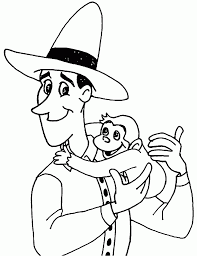 the man with the yellow hat and curious george monkey coloring