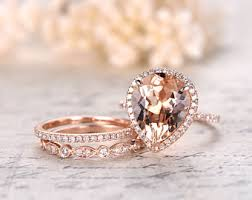 Promise Engagement And Wedding Ring Set by Pear Morganite Ring Etsy